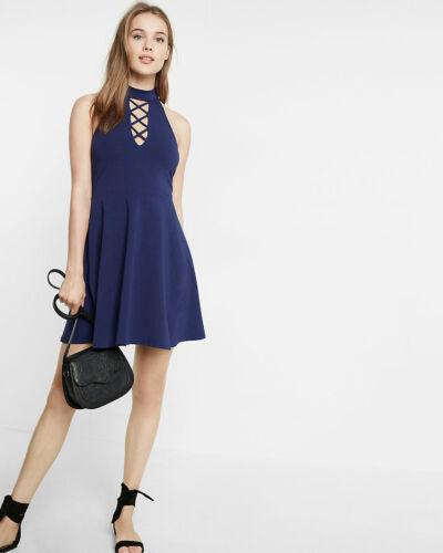 EXPRESS Medium HYDRO BLUE LACE-UP CHOKER NECK SKATER DRESS sleeveless halter M
