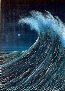 ACEO-Original-Acrylic-Collectible-Seascape-Waves-Ocean-Sea-Foam-Spray-Art-HYMES