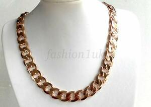 fashion1uk-Mens-Chunky-Heavy-Classic-Chain-18K-Gold-Plated-24-4-inches-62cm-130g