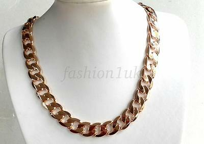 Classic Mens Chunky Heavy Long Chain 18K Gold Plated 23.5 inches 60cm 105g UK