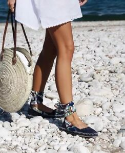 5 daim lacets 38 Chaussures Espadrilles Bnwt en Eu à Zara plates lacets Uk à ZT7wnpq