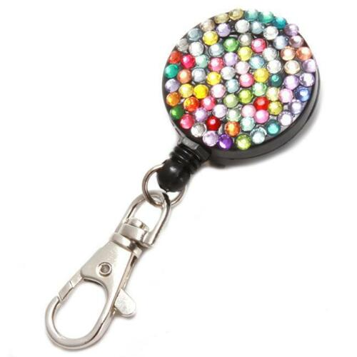 Retractable Crystal  ID Badge Lanyard Tag Key Card Holder Reel Belt Clip Q