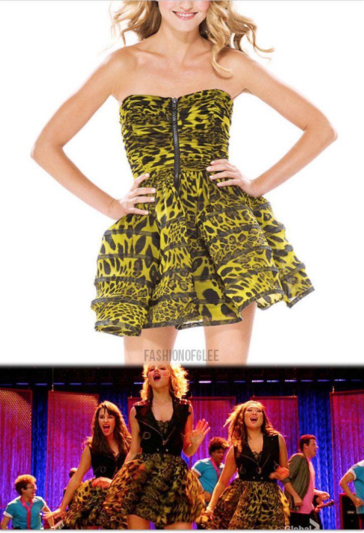 Betsey Johnson Leopard Mesh Straples Film black Green Dress