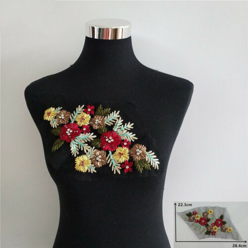 Floral Embroidery Rhinestone Lace Patch Sew on DIY Clothes Dress Collar Applique