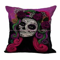 Us Seller-day Of The Dead Sugar Skull Cushion Cover Home Decor Pillowcover
