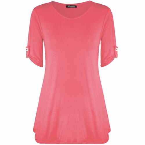 Womens Ladies Turn Up Short Sleeve Swing Flared Tunic Dress Stretch Top Plus8-26