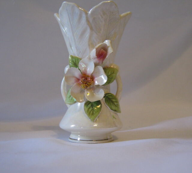 Vintage Norcrest Iridescent White Porcelain Bud Vase Applied Flowers