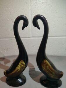 Canuck-Pottery-2-Goose-Birds-Brown-Drip-Glaze-Figurines-Not-Blue-Mountain