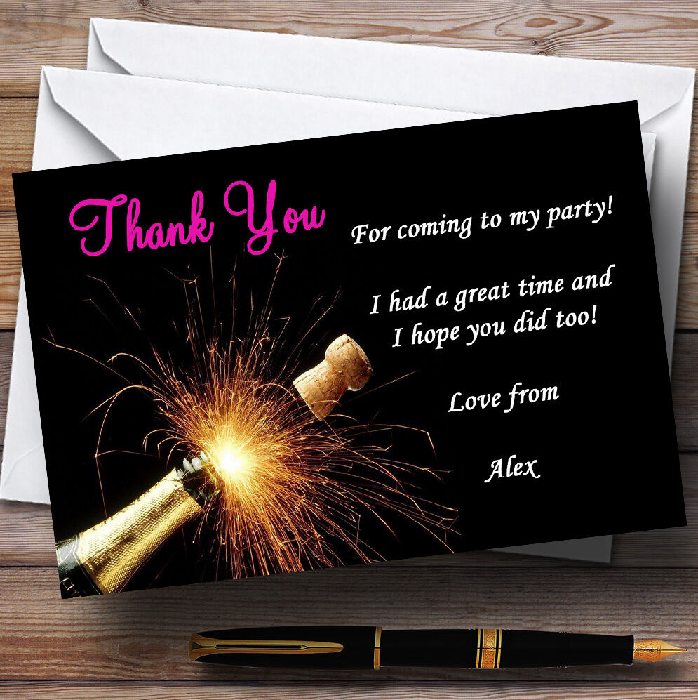 Champagne Cork Rosa Personalised Party Thank You Cards Be8d15