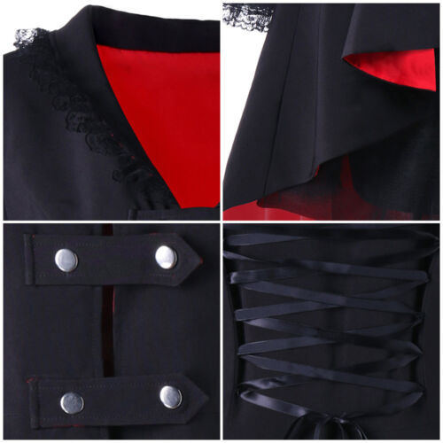 High Low Women/'s Vintage Steampunk Tailcoat Jacket Gothic Victorian Lace Up Coat