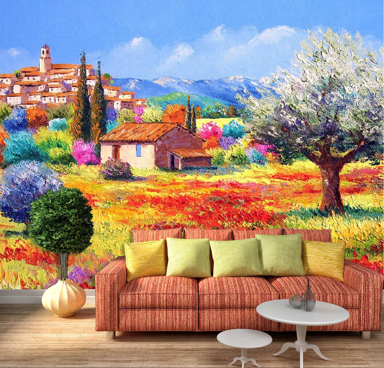 3D Farbige Erde, Haus 84 Fototapeten Wandbild Bild Tapete Familie Kinder