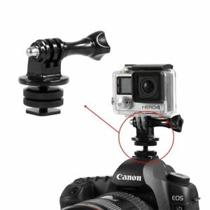 "1/4"" Dual Nuts Flash Hot Shoe Screw Adapter W/ Tripod Mount For Gopro to Camera"