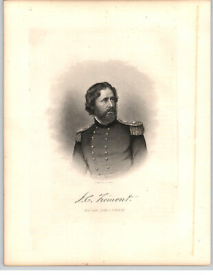 1861 Historical Steel Engravings 7 Pg Bio John Charles Fremont Major General