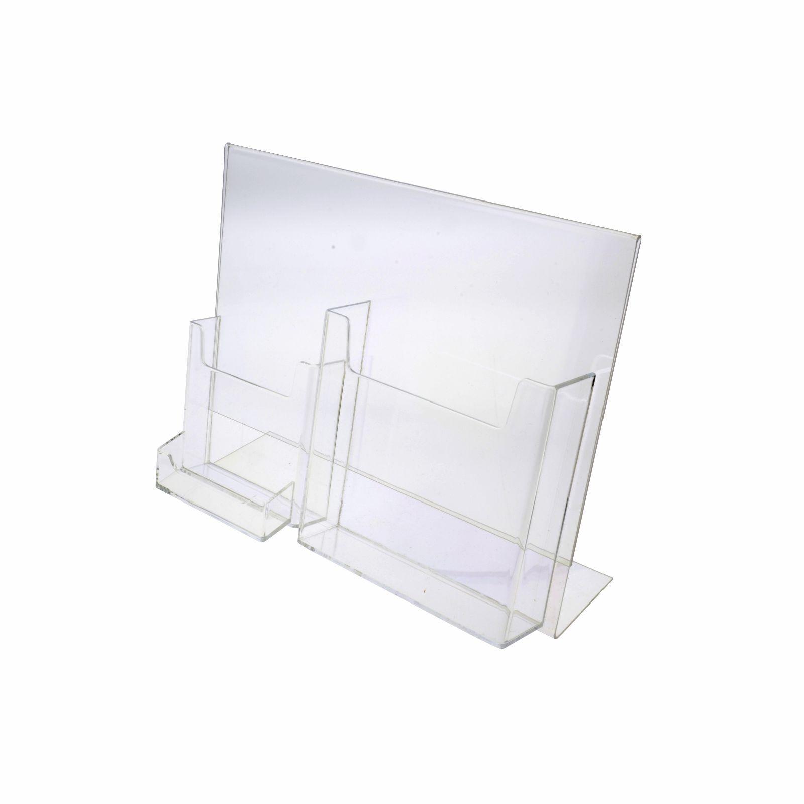 Lot of 6 Clear Acrylic Multi Tri fold Brochure & Business Card Holder