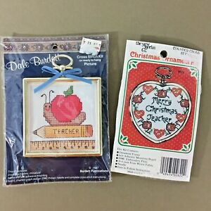 Lot-of-2-teacher-small-cross-stitch-kits-w-frames-Christmas-ornament-amp-red-apple