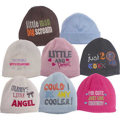 100/% Cotton Newborn Baby Boy Girls Winter Double Layer Plain Hat Cap One Size