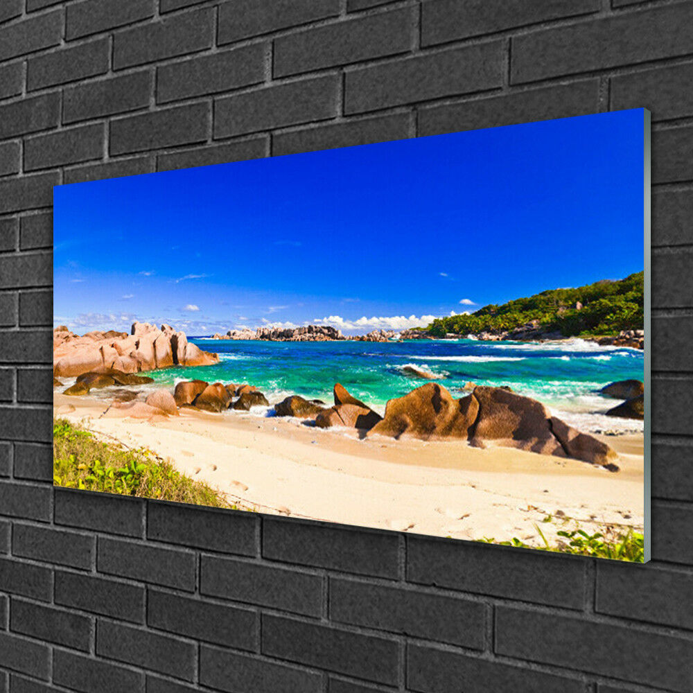 Image sur verre acrylique Tableau Impression 100x50 Paysage Plage Rocheuse Mer