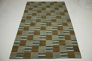 Vintage Patchwork Orient Teppich Kelim Grau Braun 300x200 Used