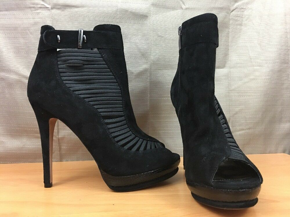 Sam Edelman Sahar Womens Shoes 7.5 M Black Ankle Boots Stilettos Platform Zipper