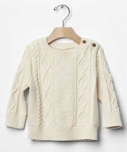 d76c39384437 GAP Baby Boys Size 3-6 Months NWT Ivory Cable Knit Long-Sleeved ...