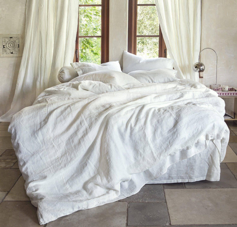 Luxury PURE Linen Weiß Quilt Duvet Cover Set Flax Bedding Super King 260x220