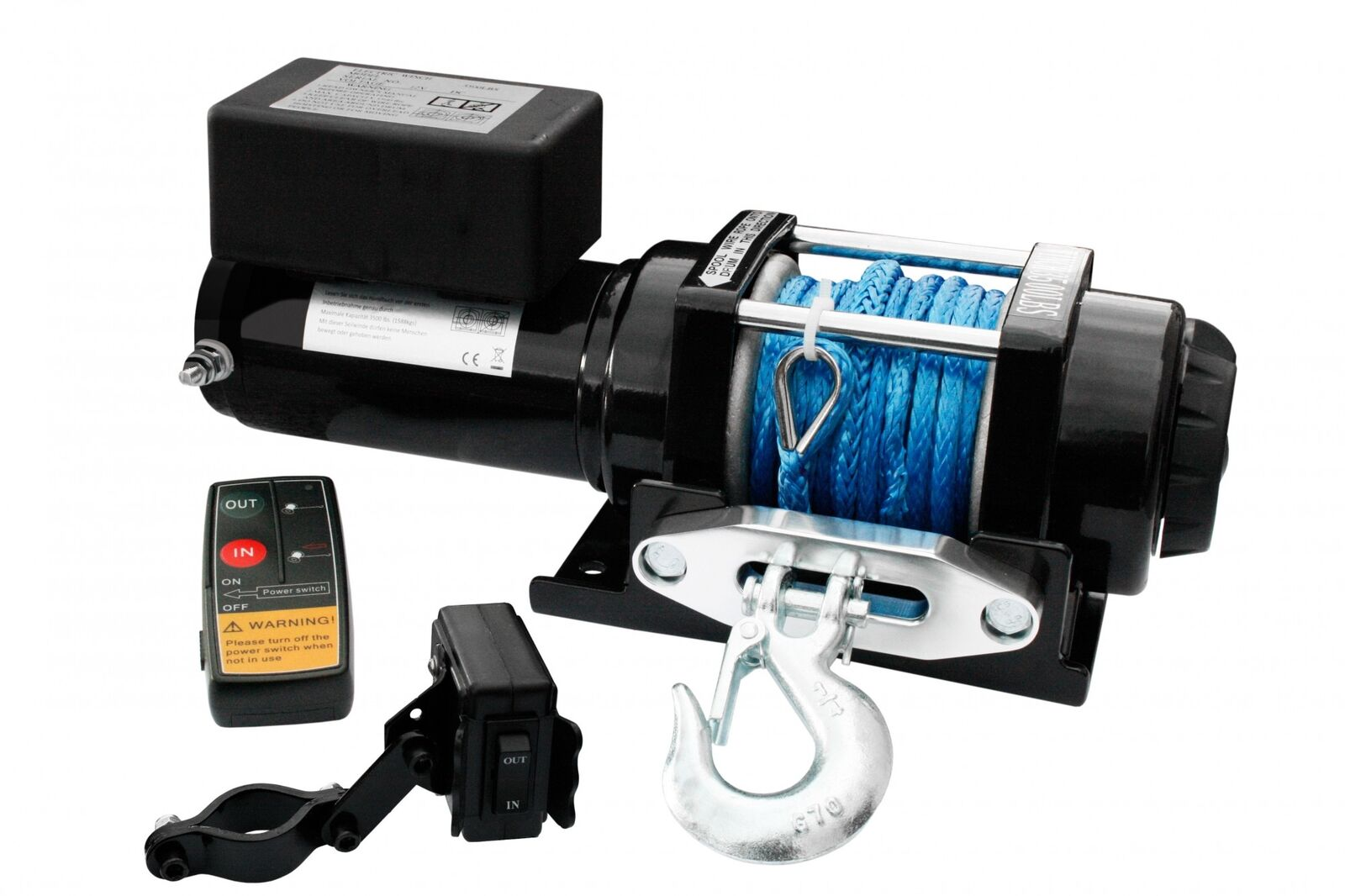 Elektrische ATV Quad Seilwinde Winde 12 V 3500 Lbs Funk Kunststoffseil 12 Volt