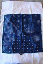 "Dion Pocket Square in Blue Polka Dot Print 100% Italian Pure Silk 17"" Square"