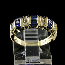 Estate 1.00 Ct Blue Sapphire & Natural Diamond 14K Yellow Gold Wedding Band Ring