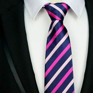 Navy-Blue-Pink-Tie-Striped-Pattern-Handmade-100-Silk-Wedding-Necktie-8cm-Width
