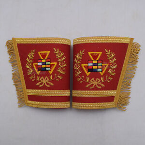 Hand-Embroidery-Masonic-Royal-Arch-Past-PHP-High-Priest-Cuffs-Red-with-Gold-WLC