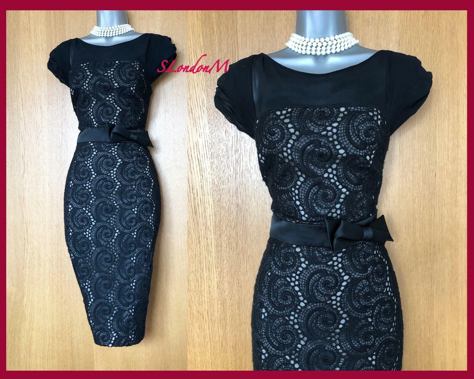 Exquisite Karen Millen 14 UK schwarz Lace Applique Pencil Dress Occasion Party 42