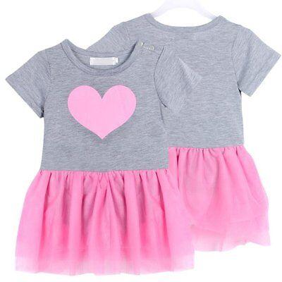 Baby Girls Newborn Outfit Tops T-shirt Tutu Dress Birthday Clothing SZ 1-3Y A61