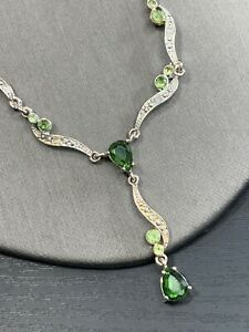 Vintage Peridot Green Crystal  Drop pendant necklace Silver tone Chain 16""