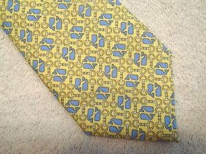 vineyard-vines-Kentucky-Derby-Whale-amp-Bit-Pattern-Tie-NWT-95-Made-in-USA-Yellow