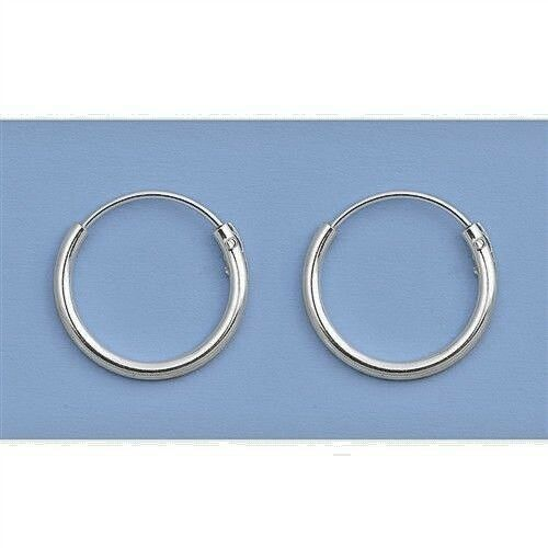 Mini Hoop Sterling Silver 925 Plain Earrings Small Continuous 11mm Jewelry