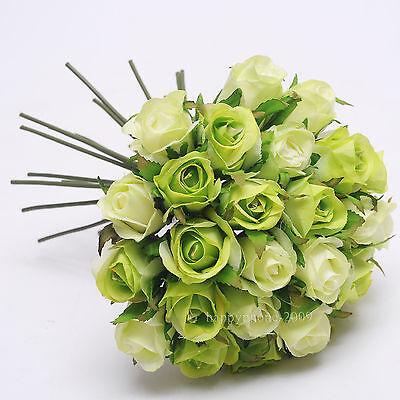 26 Heads/Bunch Artificial Silk Flower  Roses Posy Wedding Bridal Bouquet Flowers