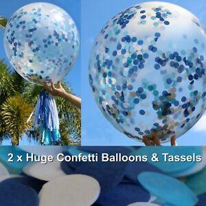 2-x-Blue-Jumbo-Confetti-Balloons-36-034-Garland-Boy-Baby-Shower-1st-Birthday-Party