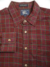 Vtg BURBERRYs Cotton Wool Blend Button Down Red Plaid LS Shirt Mens Large USA