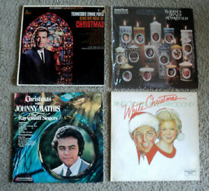 Lot-Of-Four-4-Christmas-LP-Albums-1965-1978-Mathis-Bing-Crosby-Streisand-ETC