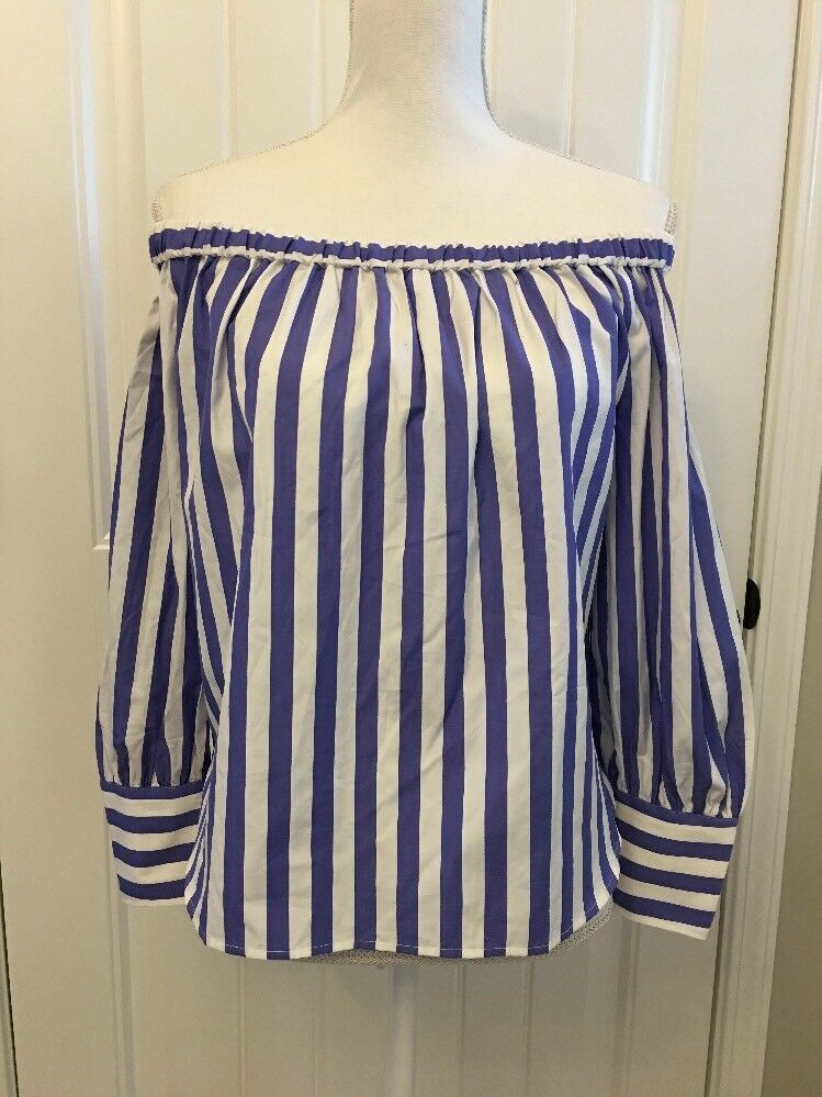 New Collection Thomas Mason Off-the-shoulder Striped Top bluee White Sz 10 G4916