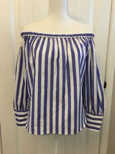 e52ffa56e6d New Collection Thomas Mason Off-the-shoulder Striped Top Blue White ...