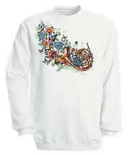 Musik Sweatshirt trendy Sweater S 4XL Totenkopf SANTA MUERTE 10282-1 weiß