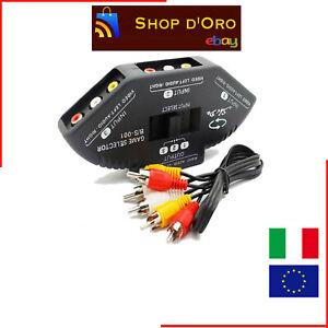 Switch-Multi-Box-AV-3-IN-1-OUT-RCA-Tripla-Video-Audio-Moltiplicatore-per-Segnale