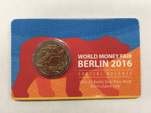 2016 $1 WORLD MONEY FAIR BUDDY BEAR PRIVY MARK Coin on Card
