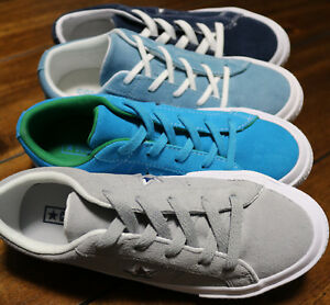 12fc23cee0f3 Converse Youth One Star Suede Trainers - Blue Green  Grey Kids Boys ...
