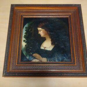 Superbe-tableau-XIXeme-peintre-victorien-pre-raphaelite-tondo-huile-sur-toile