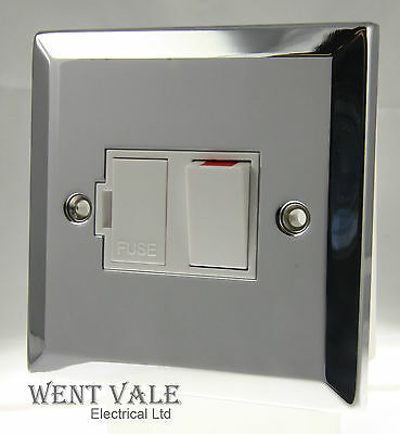 DECOR 13A SWITCHED FUSED CONNECTION SPUR UNIT POLISHED CHROME /& WHITE INSERT