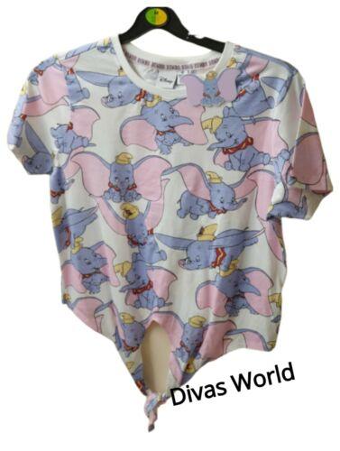 Disney Dumbo Crop Top The Elephant Printed Ladies Tee Cropped Front Knot Primark