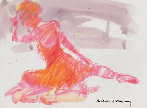 Richard-J-S-Young-Contemporary-Watercolour-Ballerina-in-Pink-amp-Orange