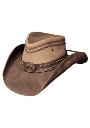 Crossed Guns Bullhide Two Tone Brown Top Grain Leather Shapeable Hat HIDEOUT